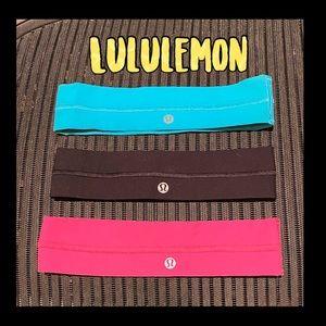 3 Authentic Lululemon Headbands aqua pink and black